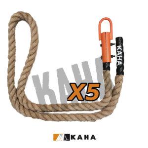 corde à grimper Kaha en sisal naturel pour obstacle type ocr ou parcours d'obstacles indoor de type Ninja Warrior, longueur 2m40, diamètre 38mm, fixation par crochet acier laqué orange, manchon plastique noir